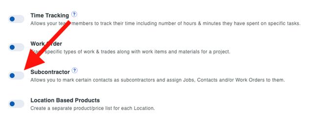 Subcontractors - Feature Enable