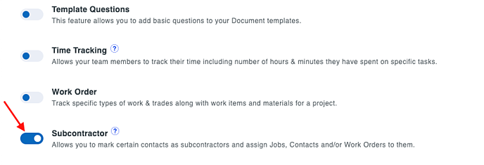 enable subcontractor in features tab