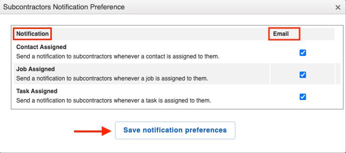 notification preferences window