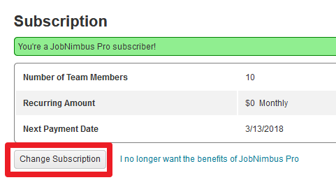 Subscription - Change Subscription