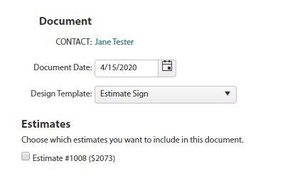 Document Template Choose Estimate