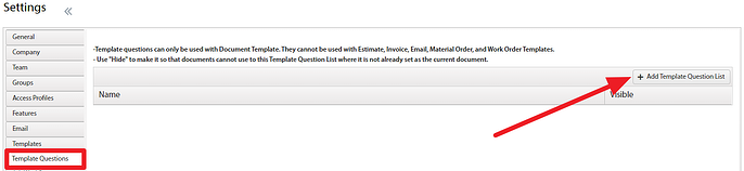 Template Questions Access