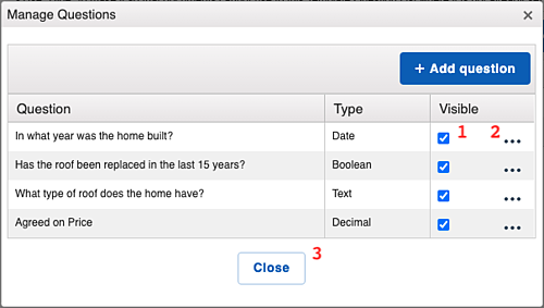 Template Questions - Manage Question Window