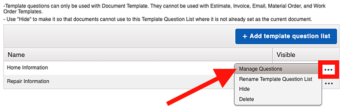 Template Questions - Manage Questions