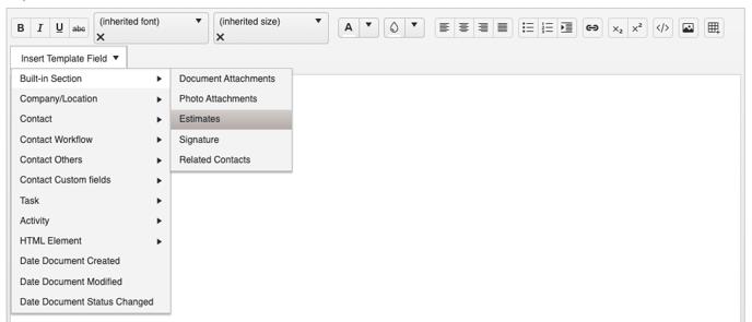 Document Template - Builder Estimates Field