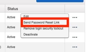 How to send a Team Member a password reset link