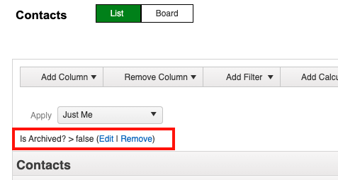 customize list view is archived