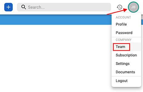 name dropdown menu point to team tab
