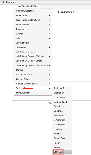 task specific temp field email temp