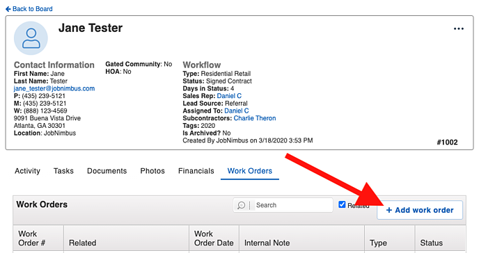 Work Orders - Add Work Order