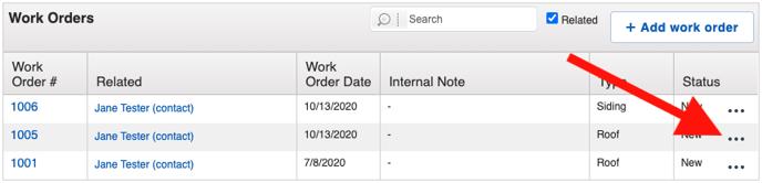 Work Orders - Menu