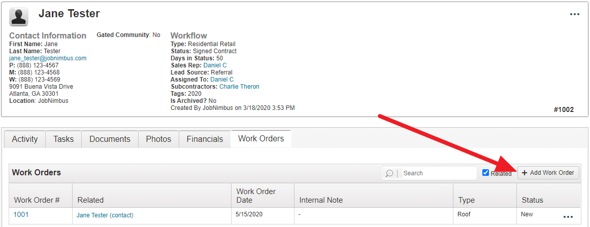 Work Orders Access Feature
