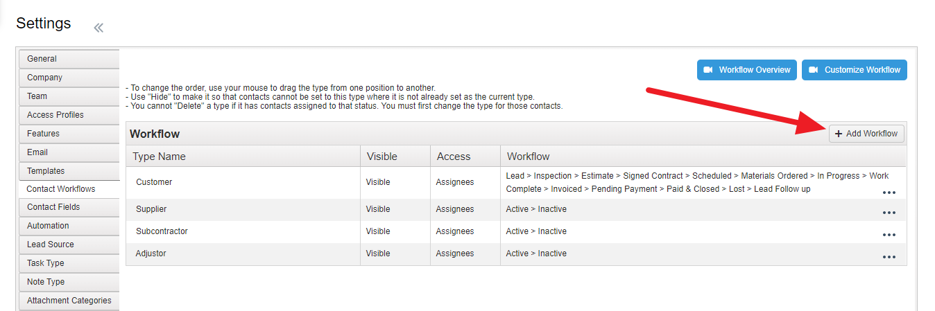 Contact Workflow Add Workflow