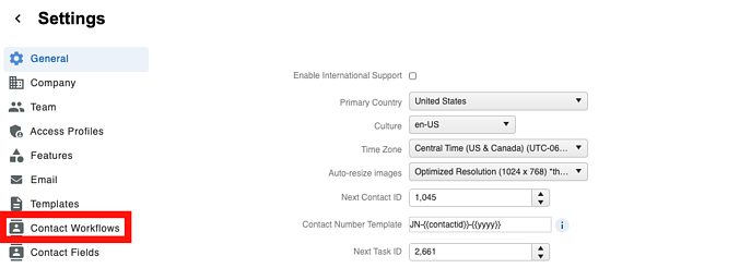 Workflows - Menu Contact Workflow