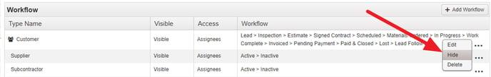 Workflow Hide Workflow