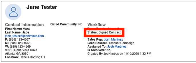 Workflows - Where do I see Statuses on a Contact?
