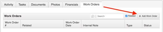 Work Order Add Work Order Button
