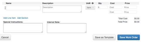 Work Order Bottom Form