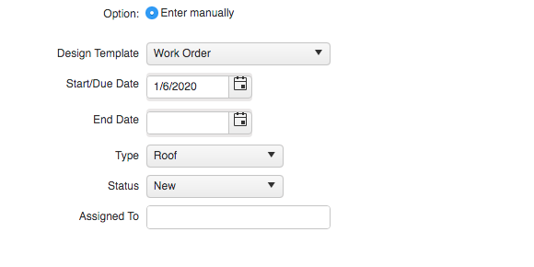 Work Order Top Form
